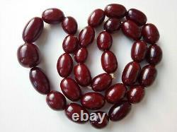 Antique Faturana Cherry Amber Bakelite Grandes Perles 147 Grammes