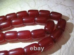 Antique Genuine Faturan Damari Veiné Cerise Ambre Bakelite Perles De Prière 137g