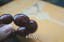 Antique Gradué Collier Cherry Amber Début 1900's 68,039 Grammes 30 Pouces De Long