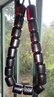 Antique Islamique Pouf Cherry Bakélite Amber Misbaha Faturan Perles 102gr
