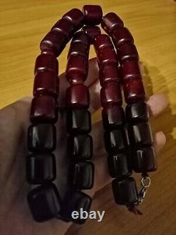 Antique Islamique Pouf Cherry Bakélite Amber Misbaha Faturan Perles 114g / 35beads