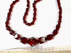 Antique Large Art Déco Cherry Amber Faceted Bakelite Graduated Bead Necklace 82g