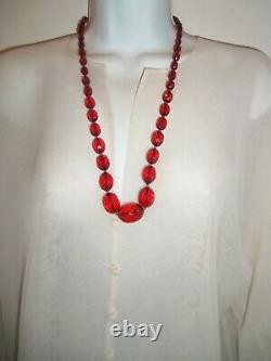 Antique Long Large 27 Pouces Cherry Amber Bakelite Bead Necklace Beautiful 56 Gr