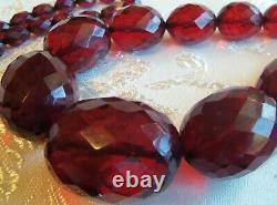 Antique Long Large 38 Pouces Cherry Amber Bakelite Bead Necklace Beautiful 85gr