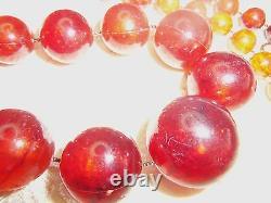 Antique Longue Cerise Ambre Diplômé Collier De Perles De Nice 76 Gr Testée