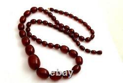 Antique Marbled Cherry Amber Bakelite Beads Collier 69g