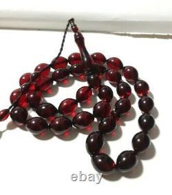 Antique Misky Bakélite Cerise Ambre Prayer Tasbih Beads 52.1 Gram