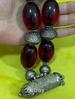 Antique Old Bakelite Red Amber Alpaca Metal Handmade Necklace Amulet Pendentif Utilisation