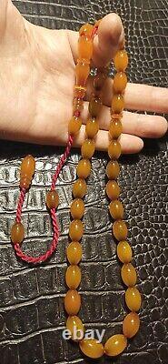 Antique Old Ottoman Cherry Amber Tasbih Misbaha New Shaved Faturan Osmanli Sikma