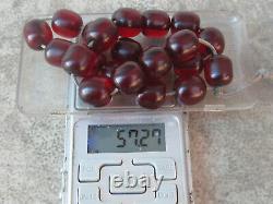 Antique Ottoman Cherry Amber Bakelite Atesh Kehribar Prayer Beads 57gr.