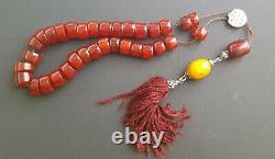 Antique Ottoman Cherry Amber Bakelite Faturan Prayer Beads 63 Gr