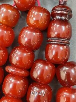 Antique Ottoman Damari Faturan Cerise Ambre Bakelite Perles De Prière Islamique 122g