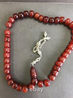 Antique Ottoman Damari Faturan Cerise Ambre Bakelite Perles De Prière Islamique 71g R