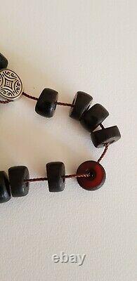Antique Ottoman Early Cherry Amber Bakelite Faturan Prayer Beads 63 Grammes