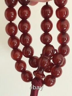 Antique Ottoman Empire Era Cherry Amber/faturan Perles De Prière Islamique-35 Chacun
