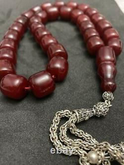 Antique Ottoman Faturan Cerise Allemande Amber Sandalous Misbaha Prayerbeads Rosaire