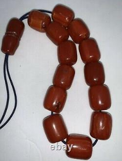Antique Ottoman Faturan Rosary Red Cherry Amber Bakelite Prayer 13 Perles 44gr