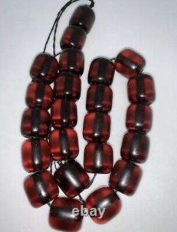 Antique Ottoman Faturan Rosary Red Cherry Amber Bakelite Prayer 23 Perles 80gr