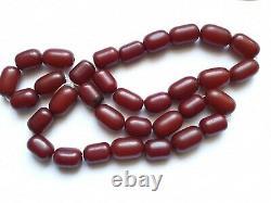 Antique Ottoman Red Cherry Amber Bakelite Faturan 33 Prières Damarie 113 Gr