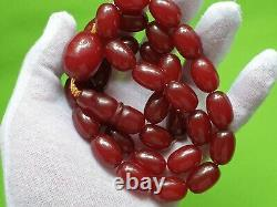 Antique Ottoman Red Cherry Amber Bakelite Faturan Prayer Beads 33+imame 105 Gr