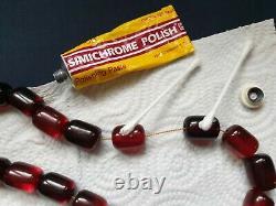 Antique Ottoman Rouge Cerise Ambre Bakelite Faturan Perles De Prière 100grams Big Bead