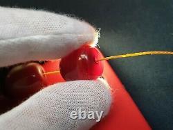 Antique Ottoman Rouge Cerise Ambre Bakelite Faturan Perles De Prière Damari 50gr! (kr)