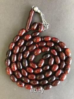 Antique Ottoman Yaldes Zaphrani Cerise Ambre Bakelite Perles De Prière Islamique 71g