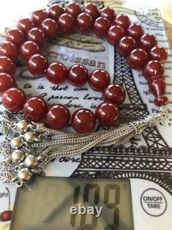 Antique Ottomane Damari Cerise Faturan Bakelite Perles Prière Islamic 109g R