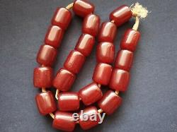 Antique Pouf Rouge Cherry Amber Bakélite Faturan Prière Perles Damari 54gr! (f)