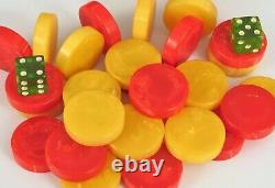 Antique Red & Butterscotch Marbleized Amber Bakelite Backgammon Chips 250g Dés