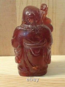 Antique Red Cherry Amber Sculpture De La Divinité Chinoise De La Longévité (shou)