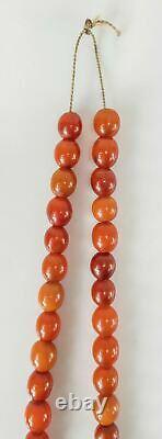 Antique Sculpté Cherry Amber Bakelite Faturan Collier De Prière Catalin 56.1g