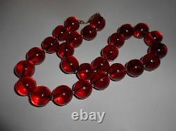 Antique Stunning Genuine Cherry Amber Bakelite Collier Perles Rondes 76,6 Grammes