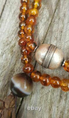 Antique Tibétain Amber Mala Prière Suleimani Red Coral Solide Bracelet De Perles D'argent