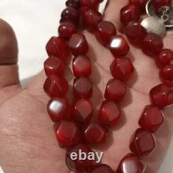 Antique Véritable Cerise Ambre Bakélite Faturan Perles De Prière 70 Gr
