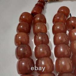 Antique Véritable Cerise Ambre Bakélite Faturan Perles De Prière 90 Gr
