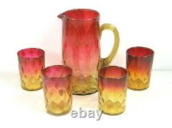 Antique Victorian Amberina Glass Pitcher Amber Reed Handle & 4 Tasses Tumblers