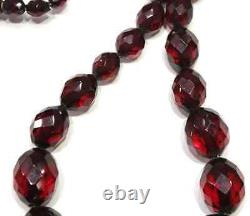 Antique Victorian Faceted Cherry Amber Graduated Collier 30