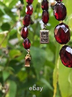 Antique Victorienne Véritable Cerise Perles À Facettes Ambre Collier Diplômé