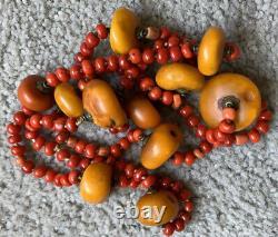 Antique Vieux Tibétain Naturel Ambre Rouge Aka Perles Perles Collier
