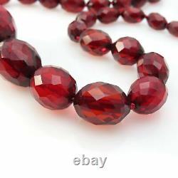Antique Vintage Art Déco Cherry Amber Faceted Graduated Bead Necklace 33 L 50gr
