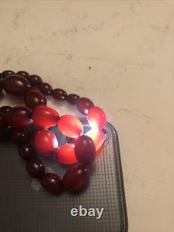 Antique Vintage Cherry Amber Bakelite Oval Beads Collier 57 Grammes 21long