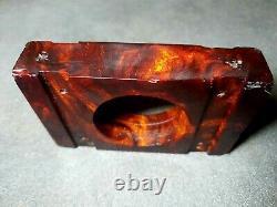 Antique Vintage Old Amber Bakelite Cherry Faturan Stardust Gold Beads Block Rar