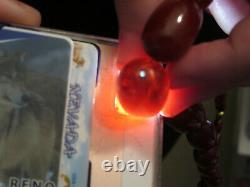 Antique Vtg Dark Cherry Amber Bakelite Gradué Perlé 19 Collier 40 Grammes