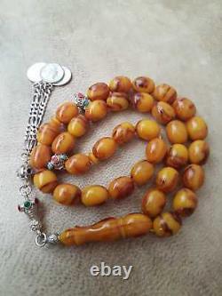 Antique-ottoman Cerisier Amber Bakelite Faturan Perles-perles Collier Tesbih Masqu