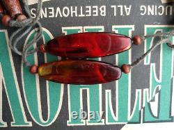 Art Anticique Deco 1920s Carved Cherry Amber Bakelite Swirl Beads Necklace Essais