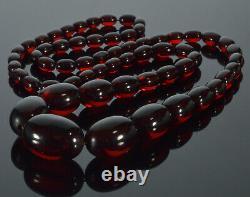 Art Antique Déco Cerise Ambre Bakélite Chained Collier De Perles C. 1920