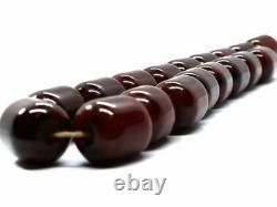 Art Déco Cherry Amber Bakelite Barrel Shape Faturan Antique Beads Collier 83gr