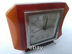 Art Deco Phénolique Bakelite Bayard Français Horloge Cerise Ambre Eggyolk Simichome