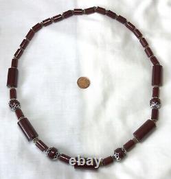 Artdeco Antique Vintage Cerise Ambre Rouge Bakélite Faturan Rare Collier De Perle 103